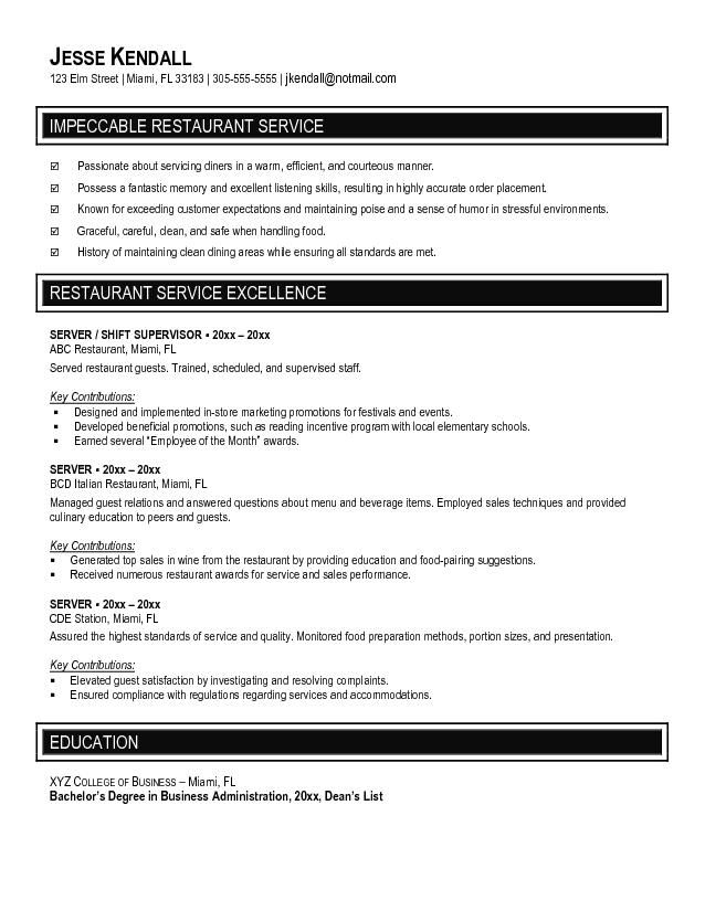 restaurant resume examples - What Is A Cv Resume Examples