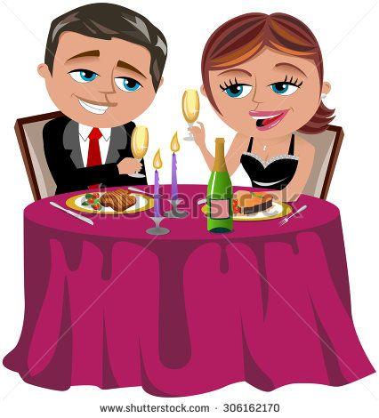 romantic dinner couple stock vectors