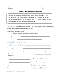 Writing Complex Sentences Worksheet | Middle School ...