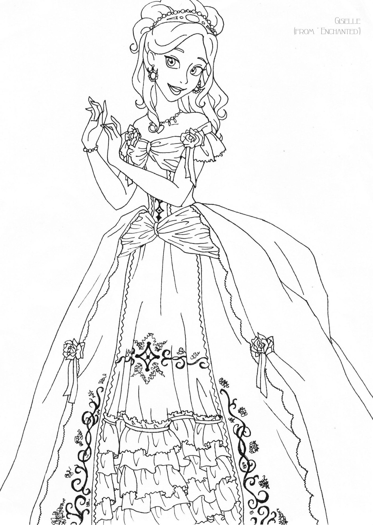 Giselle Deluxe Gown Lineart By Ladyamber Coloring Disney