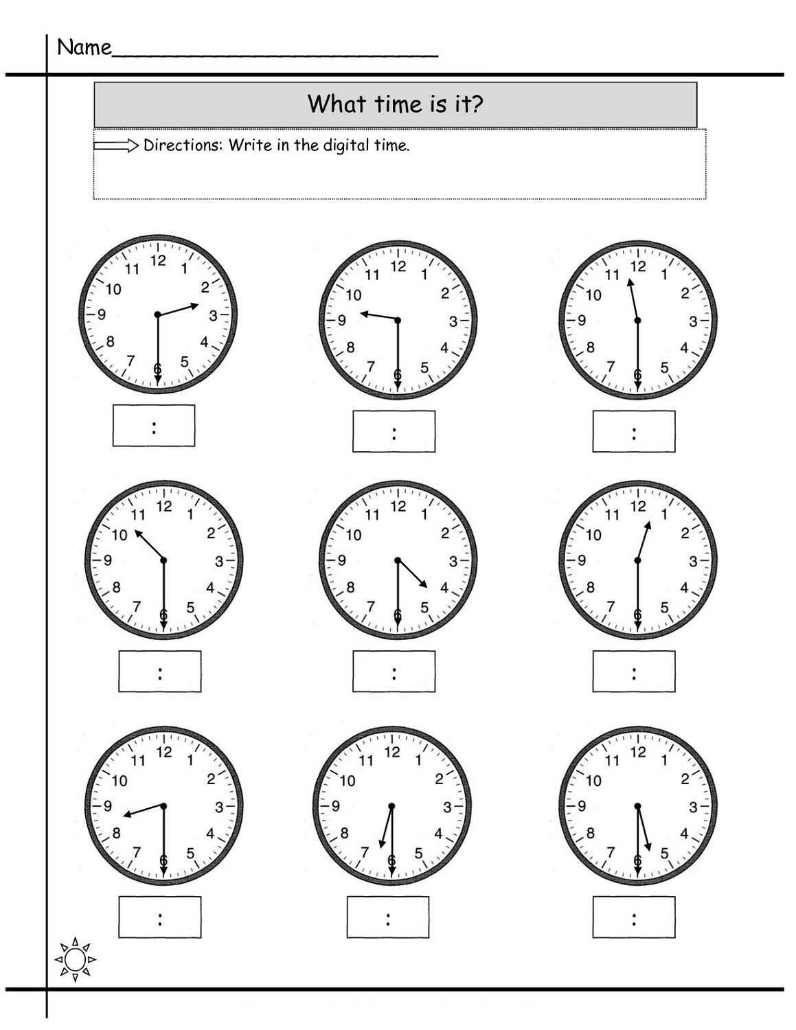 Blank Printable Clock Face Worksheet