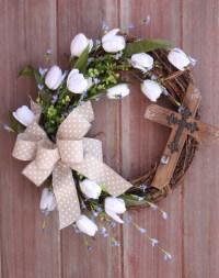 Easter Wreath, Spring Wreath, Cross Wreath, Rustic ...
