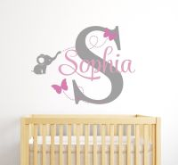 Custom Elephant Name Wall Decal for Girls