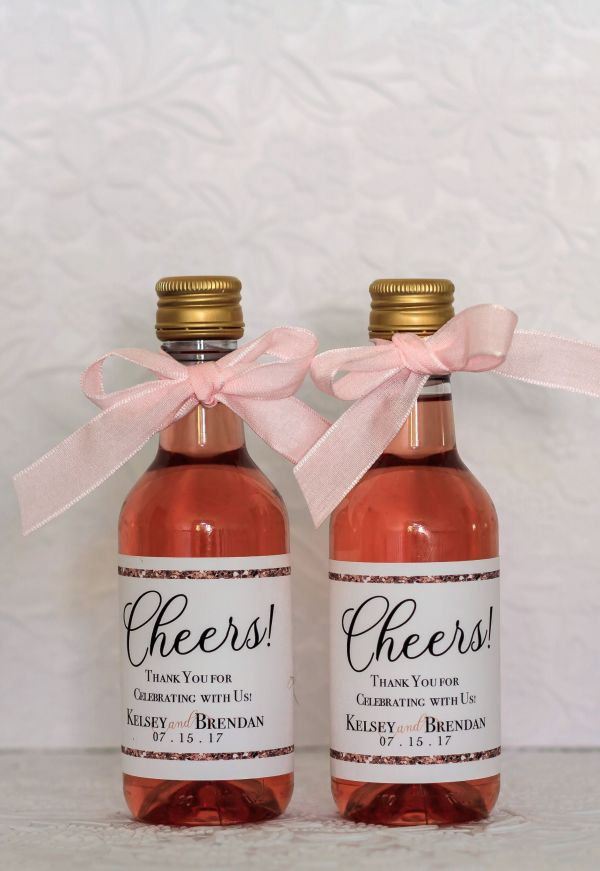 Rose Gold Wedding Mini Wine Labels. Personalized