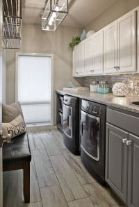 Long Narrow Laundry Room, lots of counter space. Wood look ...