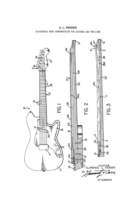 Fender Stratocaster Guitar 1960's Patent Art by