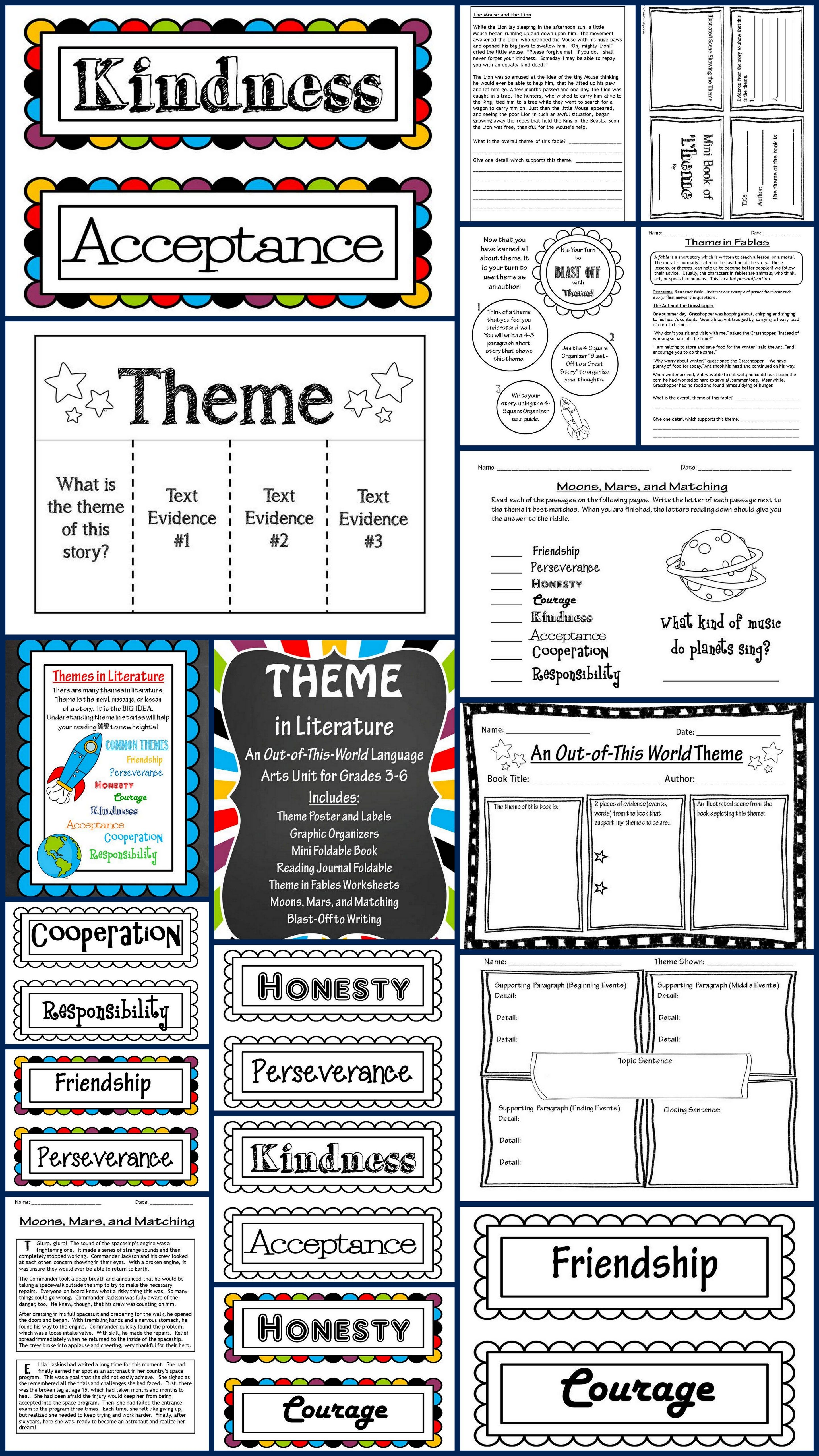 Theme In Literature Theme Match Foldables Writing Posters