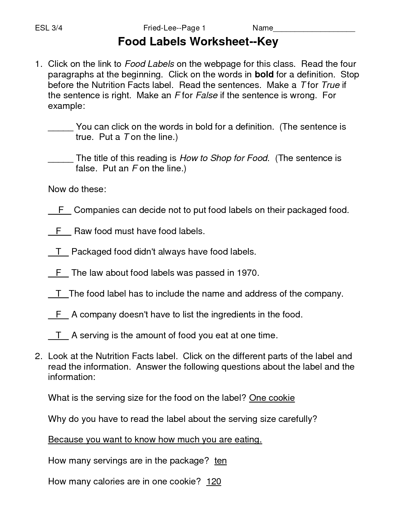 Worksheet Nutrition Worksheets For Highschool Students