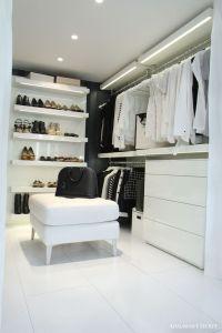 Black & White Closet with Shelves (LED lights), rails and ...