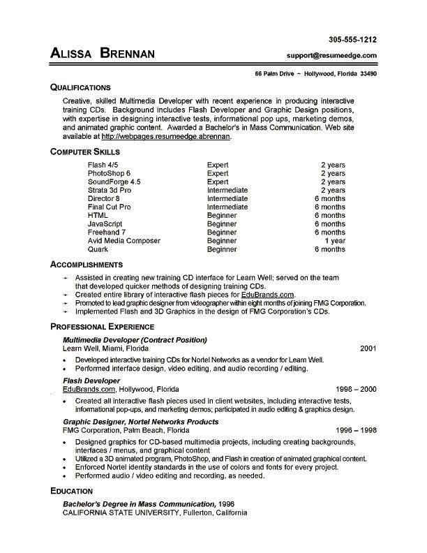 Sample Resume With Computer Skills Resume Ideas