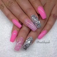 Pink and glitter coffin nails | nails | Pinterest ...