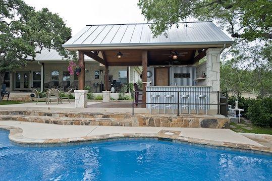 Metal Pool Buildings Designs Rustic Yet Refined Pool Cabana And