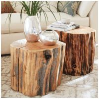Reclaimed Wood Stump End Tables