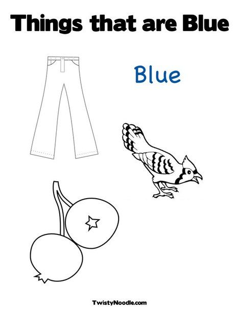 Things that are Blue Coloring Page from TwistyNoodle.com