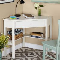 Simple Living Antique White Wood Corner Computer Desk by ...