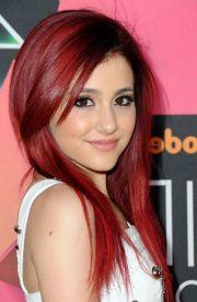 sleek long red hairstyle women