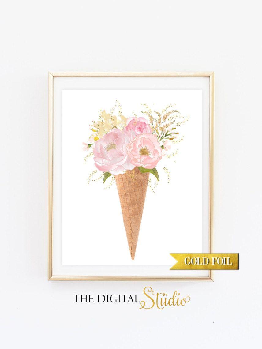 Gold Foil Nursery Print, Floral Wall Art Print, Nursery