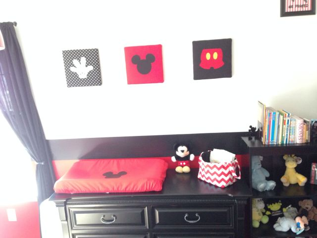 EJ s Mickey Mouse Suite Mickey Mouse wall hangings made by