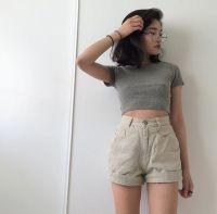 Asian fashion | High waisted short | Crop top | Short hair ...