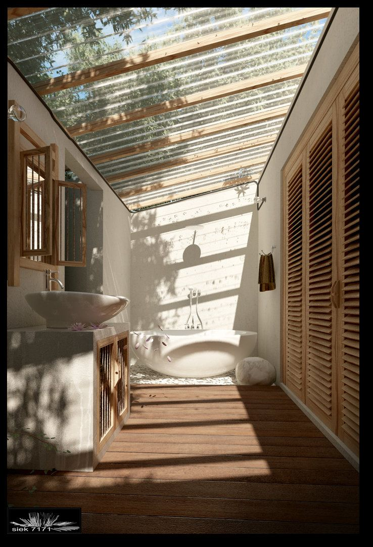 Outdoor Bathrooms on Pinterest  Balinese Bathroom Feminine Bathroom and Tropical Bathroom