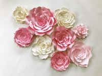 Paper flower wall art for in pink and ivory, available in ...
