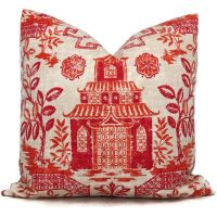 Coral Teahouse Pagoda Decorative Pillow Covers, Toss ...