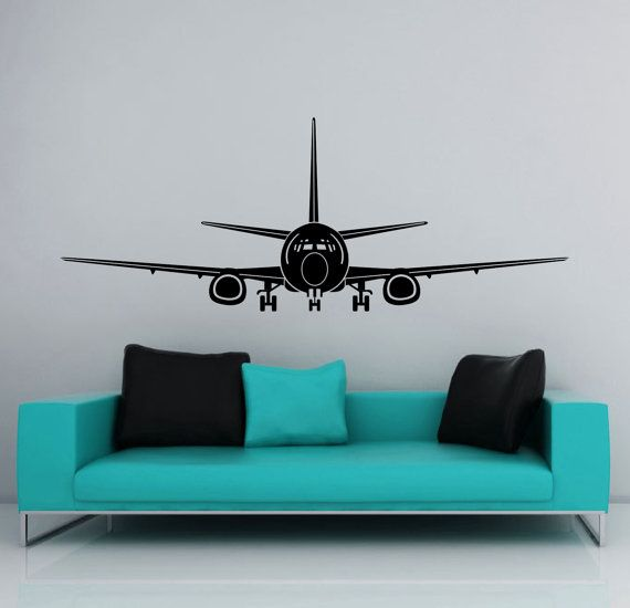 Airplane landing takeoff vinyl wall decal also jumbo jet matte removable plane rh pinterest