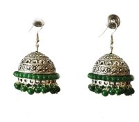 SILVER Jhumka Earrings,Large Silver Jhumkas,Green & Silver ...