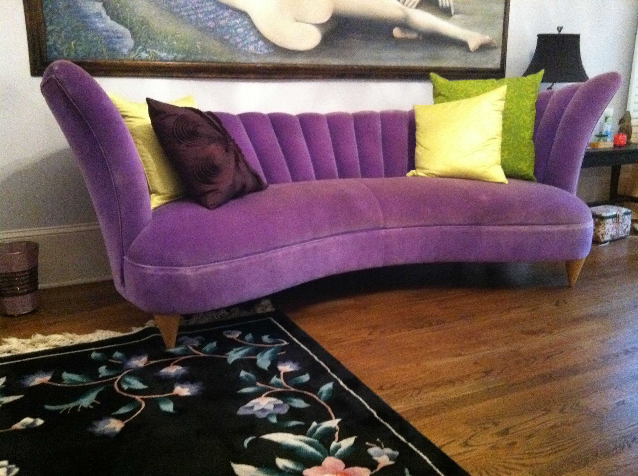 purple contemporary sofa john deere cushions modern living room with rug