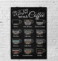 Wall Art-Kitchen Chalkboard-Drinks-Chalkboard Coffee-Latte ...