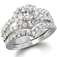 Laurel's Heart Shape Faux Diamond Wedding Ring Set ...