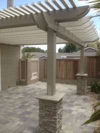 New patio with pergola, we used angelus pavers in this ...