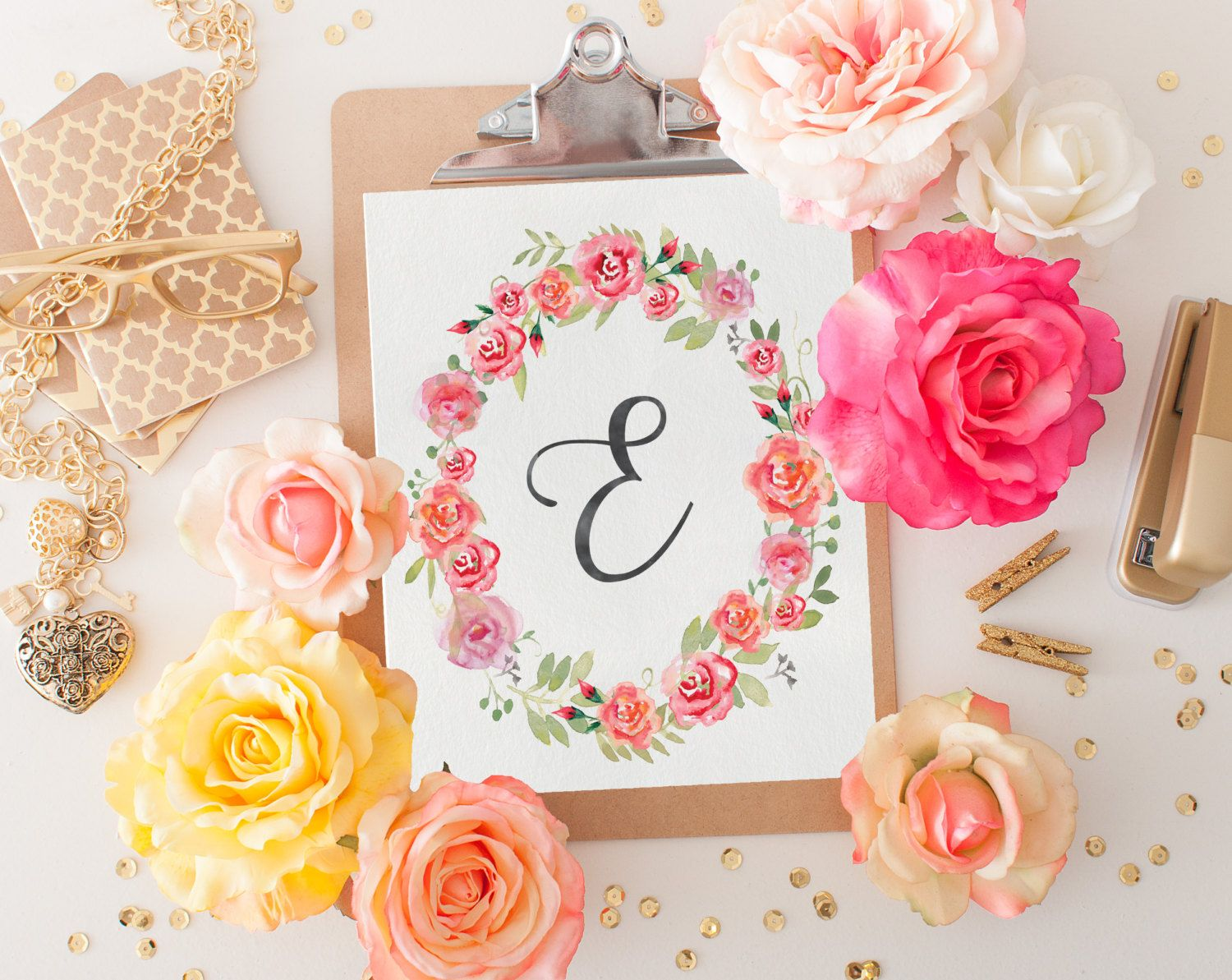 Monogram Nursery Letter E Print Girl Nursery Decor Floral Wreath Printable Art Instant