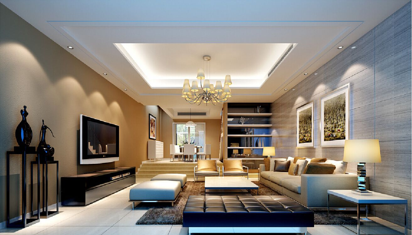 Modern Living Room Designed With Fireplace And Wall Tv For