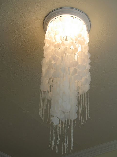 Diy Faux Capiz Shell Chandelier Made From Plastic Milk Jug Circles Looks Like A