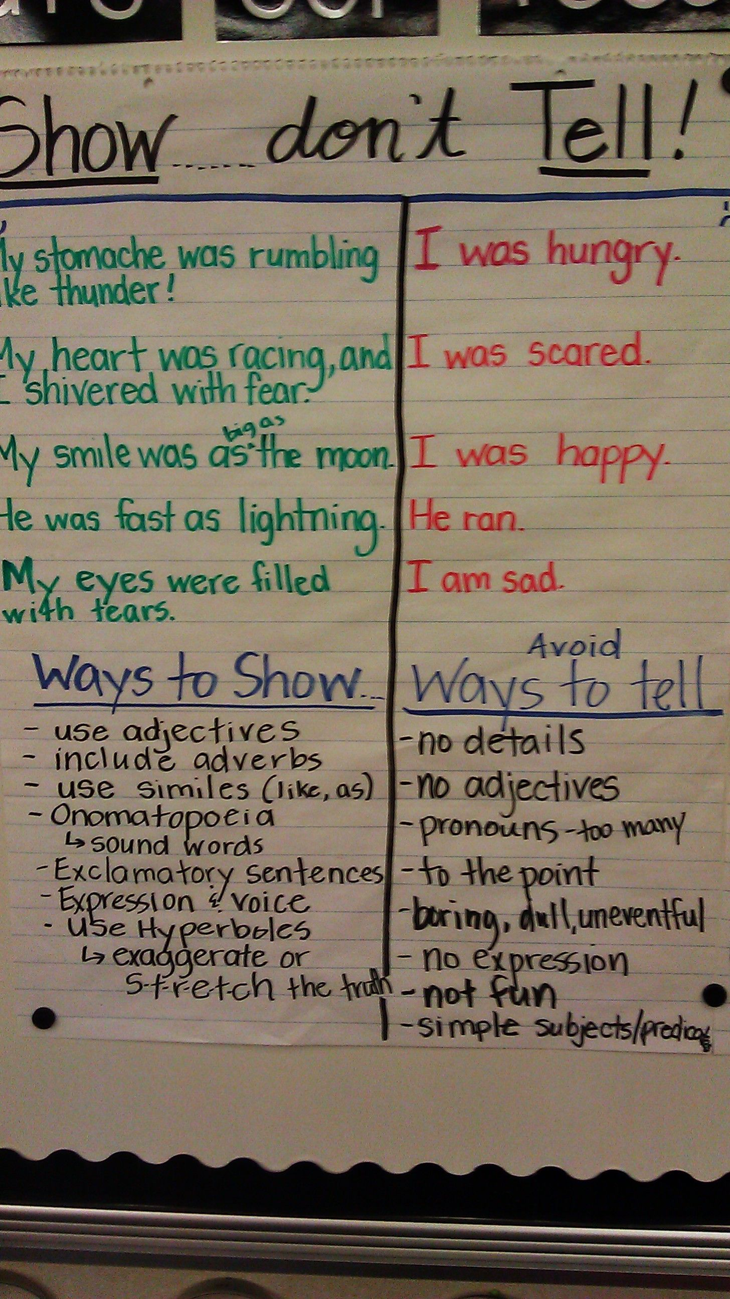 Show Don T Tell Anchor Chart Some Spelling Errors On This Chart To Check First Picture Only