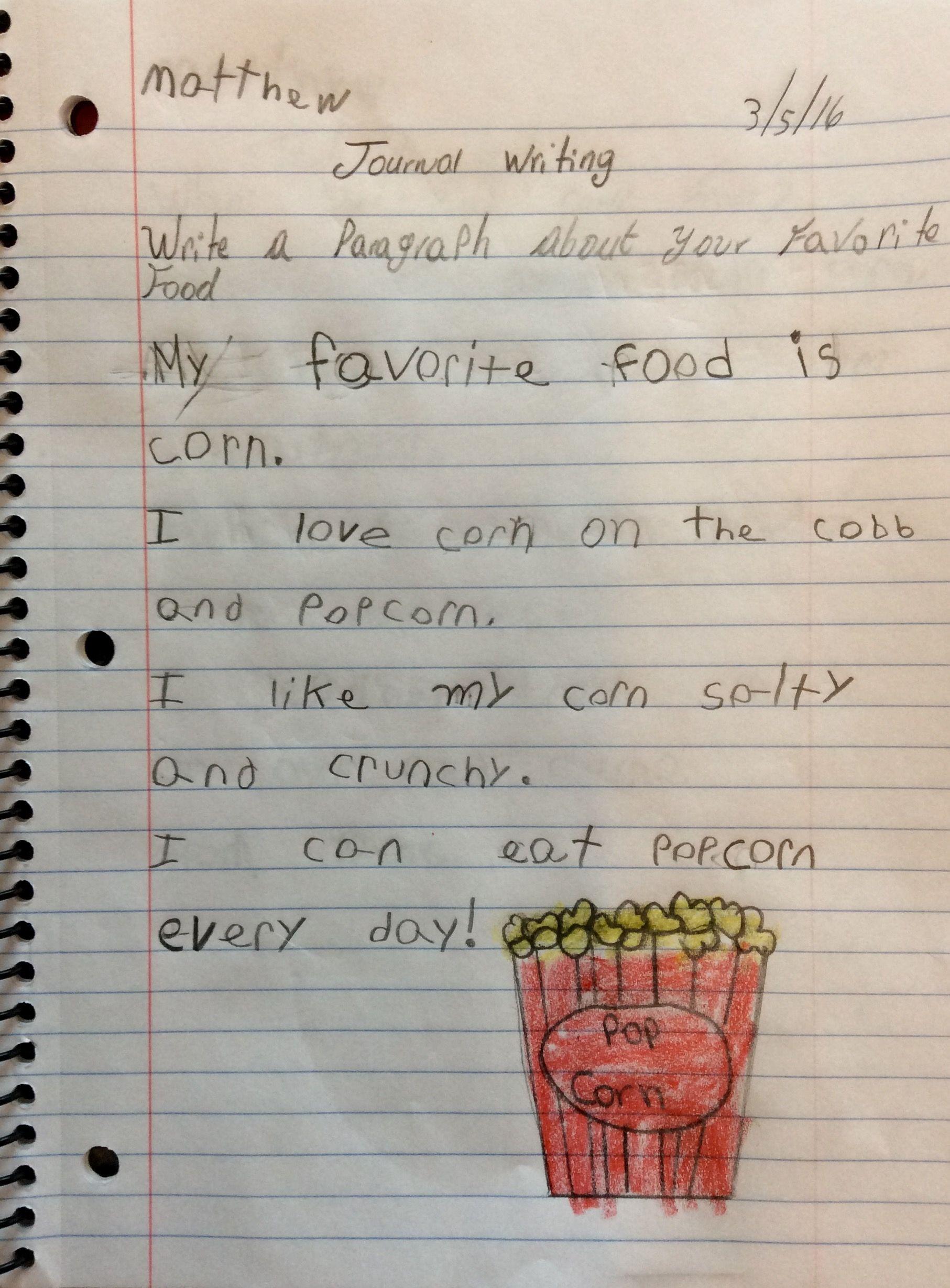 favorite food essay writing