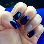 navy blue nails with silver glitter