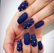 royal blue studded matte nails