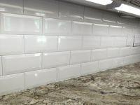 4x8 White Ceramic Beveled Subway Tile in Kitchen ...