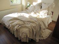 King duvet cover- shabby chic bedding beige ecru neutral ...