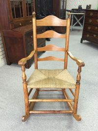 Antique Early American Ladderback Rocking Chair with Rush ...