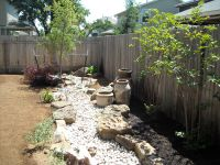 Backyard landscape - dry creek bed with native plantings ...