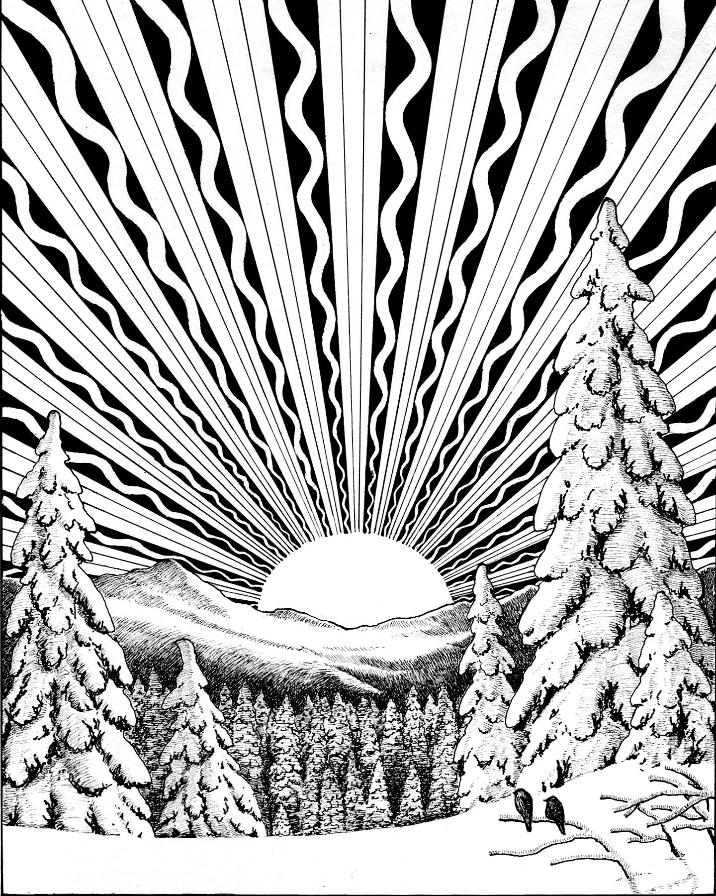 Winter Solstice Printable Coloring Page Free Christmas