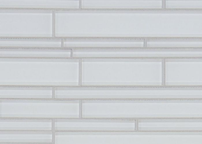 Pure snow linear glass mosaic in  in floor and also
