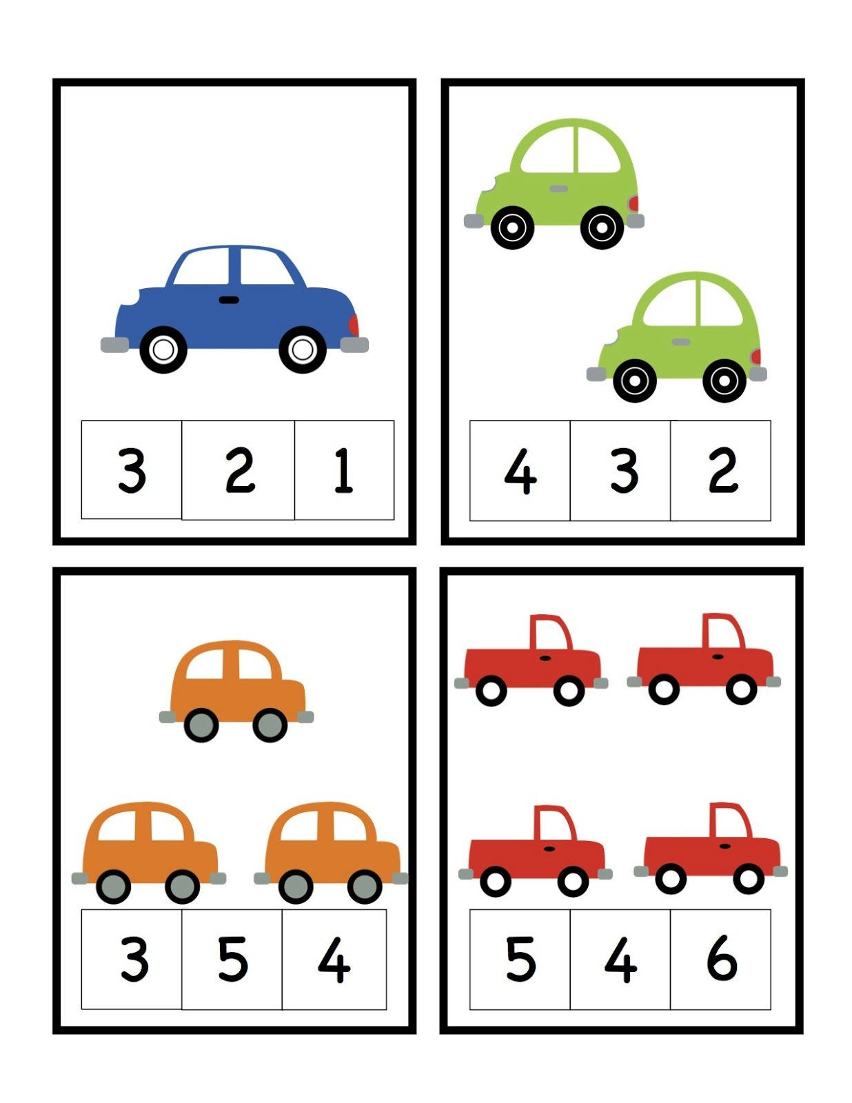 Preschool Printables Car Number Cards