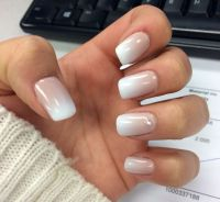French fade white tip gel nails with gem | Nails ...
