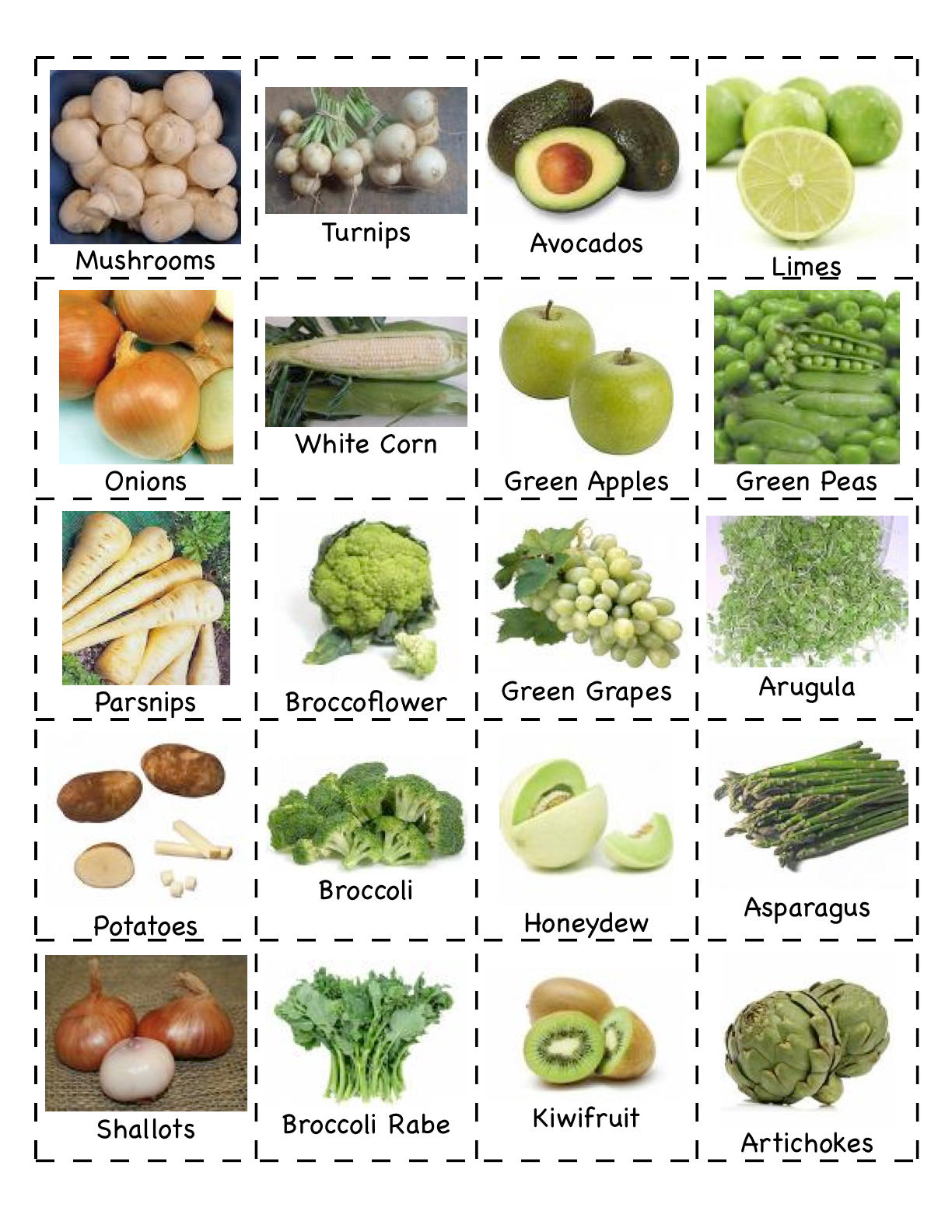 Vegetable Worksheet For Pre K
