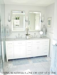 vanity, mirrors, towel hooks, marble tile floor | Bathroom ...