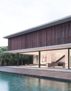 Slatted timber screens shade poolside residence in thailand by architectkidd also pin stefan on house exterior pinterest architecture rh za
